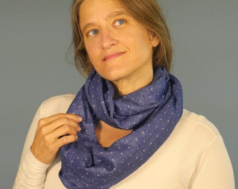 SALE Summer Infinity Scarf - Circle Scarf - Navy Blue Polka Dot - Organic Cotton Gauze - Organic Clothing