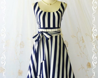 My Lady - Stripe Sundress Vintage Design Navy And White Dresses Party Dress Bridesmaid Dress Stripe Spring Summer Day Dress XS-XL Custom
