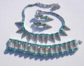 Vintage Rhodium Plated Art Deco Style Necklace Bracelet Clip on Earrings Set Signed Bogoff Signed