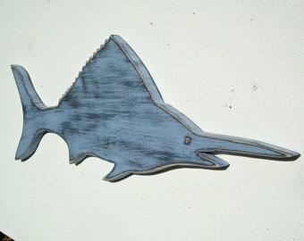 marlin sailfish nautical wood wall art