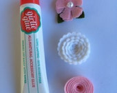 Stick on Bow Set with Girlie Glue - Pink & White
