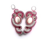 very raspberry -  soutache earrings  free shipping - pink, silver & shades of gray