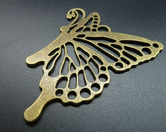 3pcs 68x60mm Antique Bronze Lovely  Huge Filigree Butterfly Charm Pendant c3506