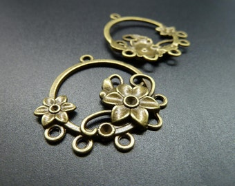 10pcs 32x35mm Antique Bronze Filigree Flower Drop Charm Pendant C3539