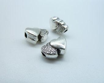 30pcs 7x9x13mm-3mm Antique Silver Heavy Mini Heart Spacer Charm Pendant c3955