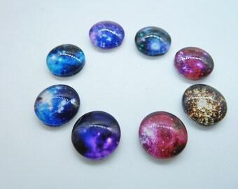 16pcs 12mm  Mixed Handmade Photo Glass Cabochons( Cosmic Star Universe)  GB36-22-34