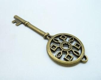 5pcs 25x70mm Antique Bronze  Filigree Huge  Key Charm Pendant c3864