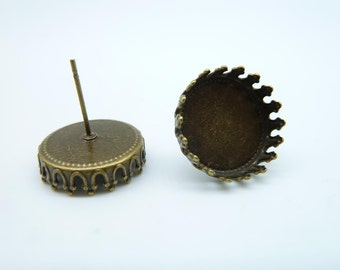 10pcs 15mm Pad Antique Bronze Brass Round Cameo Cabochon Base Setting Earring Earposts c4126