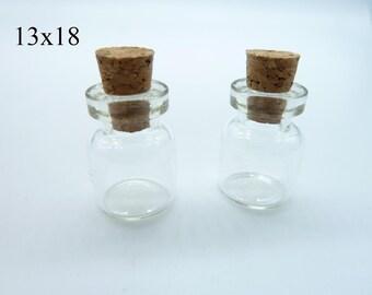 10pcs 13x18x6mm Clear Glass Tiny Wishing Drifting Bottle Vials Pendants With Corks/Free EyeHook Charm Pendant c4443
