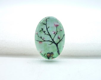 4pcs 18x25mm Handmade Photo Glass Cabochons  ( Birds on tree) GA7-14