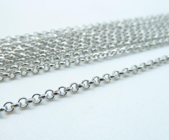 5meter   2mm White K (Rhodium Color)  Silver Tone Brass Round Cable Link Chain E1020