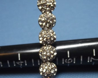 Vintage Silvertone Clear Rhinestones Cocktail Two Finger Bar Style Ring