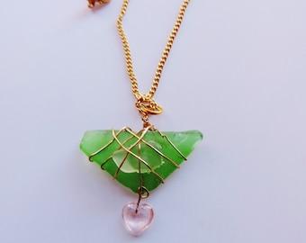 Sale Seaglass Heart Green Sea Glass Necklace  Heart Necklace Genuine Sea Glass Pendant  Gold Wrapped Sea Glass
