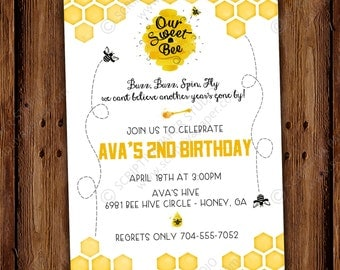 Bee Hive Birthday Invitation - Buzz Beehive Party Invite - Sweet Bee - PRINTABLE or Printed Invitations