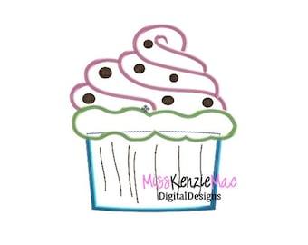 Shabby Cupcake Machine Applique Embroidery Design, Mulitple Sizes