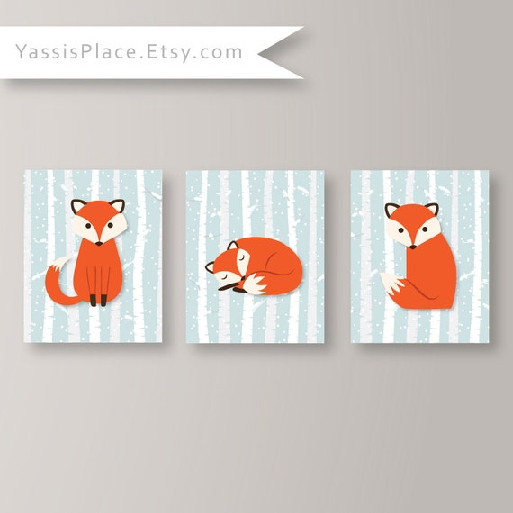 Fox Nursery Decor Boy Girl Nursery Art Fox Print Fox Home Decor Boy Bedroom Art Baby Boy Bedroom