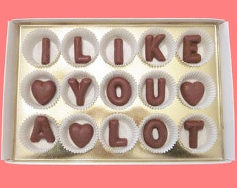 Valentines Gift Men Boyfriend Girlfriend Women Her Him Anniversary Gift I Like You A Lot Milk Chocolate Letters Creative