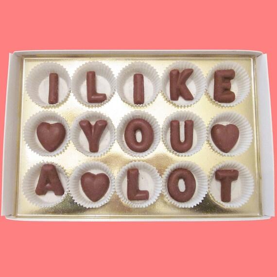 Like You A Lot Large Milk Chocolate Letters Humor Flirting    I Like You A Lot
