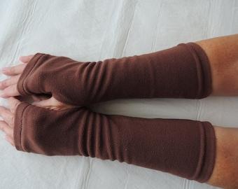 Brown Fleece Fingerless Glove, Fleece Arm Warmer, Fleece Cycling Glove, Texting Glove, Fleece Driving Glove, Fleece Hand Warmer, Brown Mitts