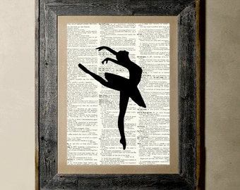 Buy 1 get 1 Free - Ballerina(3) - Printed on a Vintage Dictionary, 8X10, dictionary art, paper art, illustration art, collage