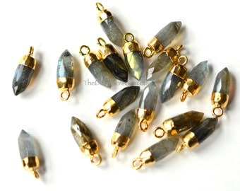 Flash Labradorite Bullet Spike Point Pendant Capped in Gold 16x5mm