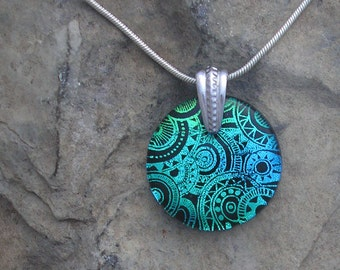 Etched Blue Green Necklace Fused Dichroic Glass Dichroic Blue Pendant