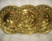 3 PEERAGE Brass Wall Hanging Plates with Original Labels Attached, Made In England, Mid-Century Home Decor