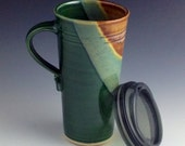 Pottery Travel mug / Commuter mug with silicone lid - Green / Brown / Mint accents