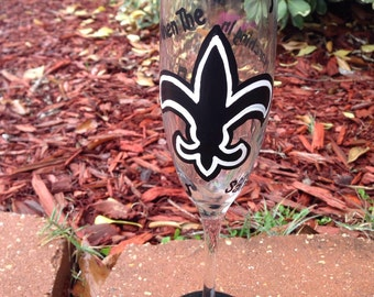 Jazz wine glass New Orleans Saints champagne flutes