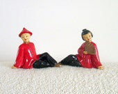 Set of Vintage Chinese Figurines, Couple in Red, Man Woman