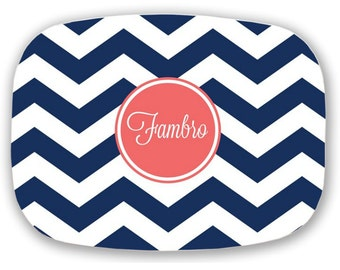 Personalized Serving Platter, Monogram Platter, Chevron Platter - Choose your Colors- Wedding Gift, Hostess gift, Engagement gift