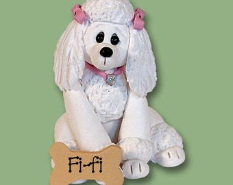 FRENCH POODLE / Dog / Puppy / Handmade Polymer Clay Personalized Christmas Ornament