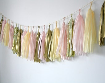 Gold, Blush Pink, Champagne Tassel Garland - Nursery Decor . Gender Reveal Party . Baby Shower Decorations