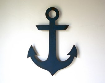 "Navy Anchor metal wall art - 20"" tall - choose your color with rust patina - nautical navy metal wall art sign - sailor steel wall art"