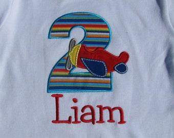 Monogrammed Airplane Birthday T-Shirt