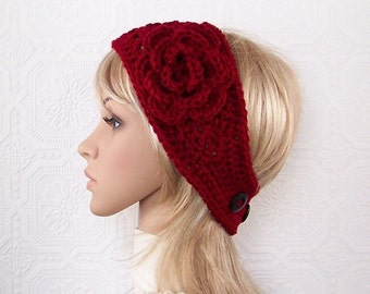 Crochet headband, boho headwrap, ear warmer - cranberry color - Winter Fashion Winter Accessories by Sandy Coastal Designs - made to order