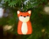 Needle Felted Fox, christmas ornament holiday decor orange woodland home fall autumn decor ecofriendly