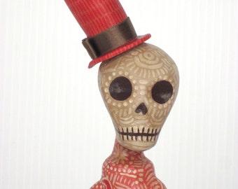 OOAK Rustic Primitive Day of the Dead Skeleton Art Doll