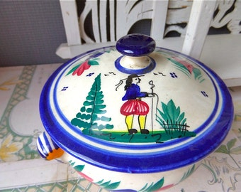 """Vintage Sugar Box Faience of  French """" QUIMPER """" artist signed"""