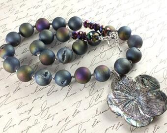 Quartz Titanium Necklace, Paua Shell Necklace, Rainbow Drusy Beads, Rainbow Druzy Beads, Pixie Dust Druzy, Sterling Silver