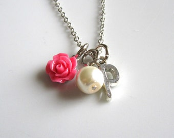 SALE*** Hot pink rose necklace with letter  - Bridal necklace - Bridesmaid necklace - Flower girl necklace
