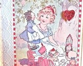 VALENTINE TEA PARTY Mixed Media Art Card, Edwardian Tea Party, Toy Soldiers, Rag Dolls, Glittered Red Hearts