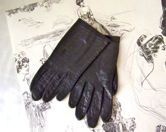 Vintage Gloves Black Leather Soft Leather Gloves Size Small Leather Driving Gloves Vintage 1960s