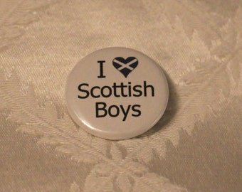 "I ""Heart"" Scottish Boys 1.25 inch Pinback Button"