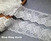 Cotton Lace Trim - 4 yards Ivory Roses Lace Applique  (L452 )
