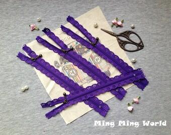 5 PCS Purple Lace Zippers Supplies Trim, Fabric Crafts Alterations Supplies Handmade Fabric Supplies(Z16)