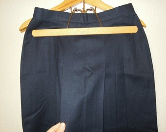 Vtg Wool Flannel Dark Blue Front Pleated Midi Skirt Size Small Petite 4