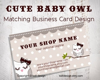 Business Card design to match Cute baby owl Premade shop set