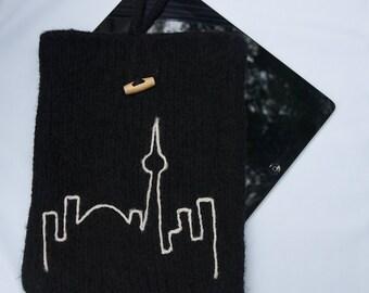 iPad Case Knit & Felted Black Wool Toronto Skyline Sleeve