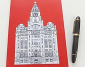Liverpool Journal, Red Journal, Recycled Notebook, Recycled Journal, Blank Journal, Travel Journal, Liver Building